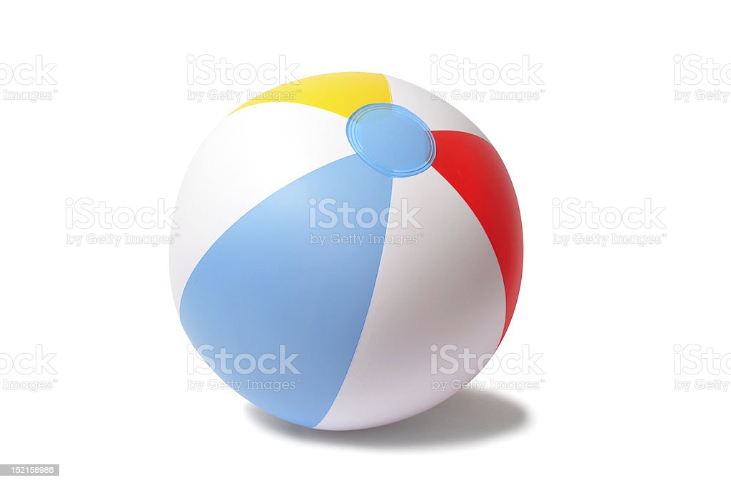 Beach ball on white background stock photo