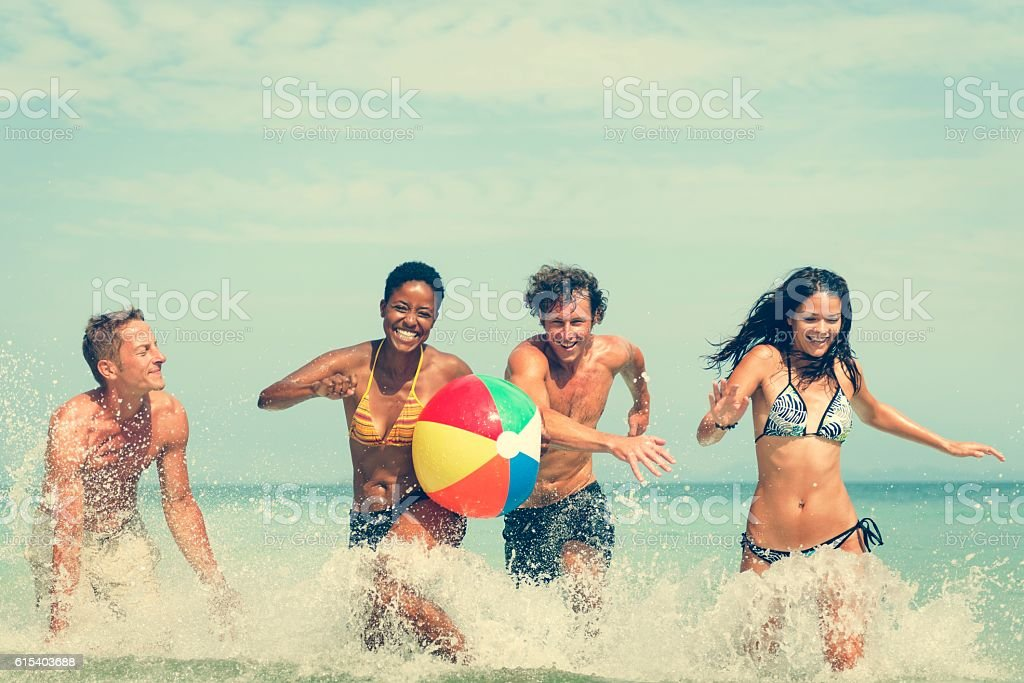 Beach Ball Sunshine Vacation Tropical Summer Concept stock photo