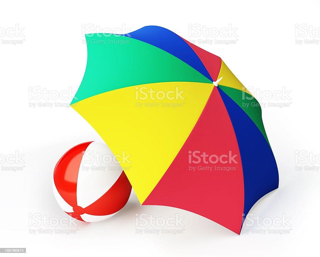 beach ball umbrella stock photo