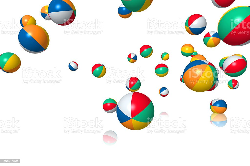 Beach balls bouncing stock photo