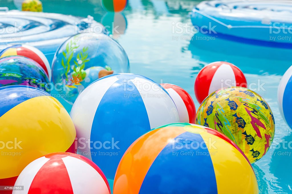 Beach Balls Floating in Pool stock photo