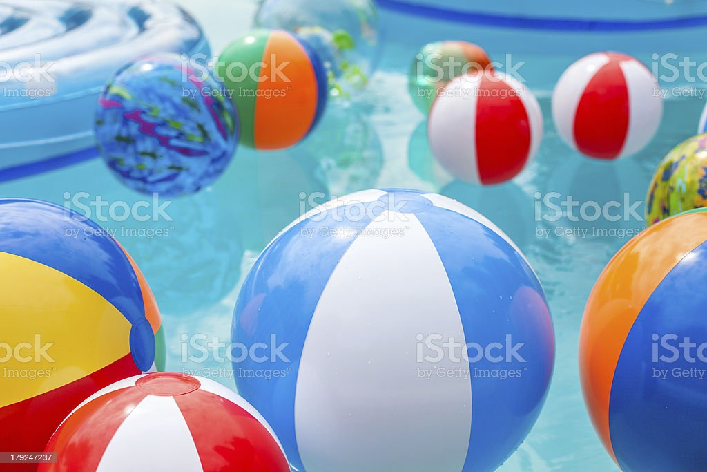 Beach Balls in Pool stock photo