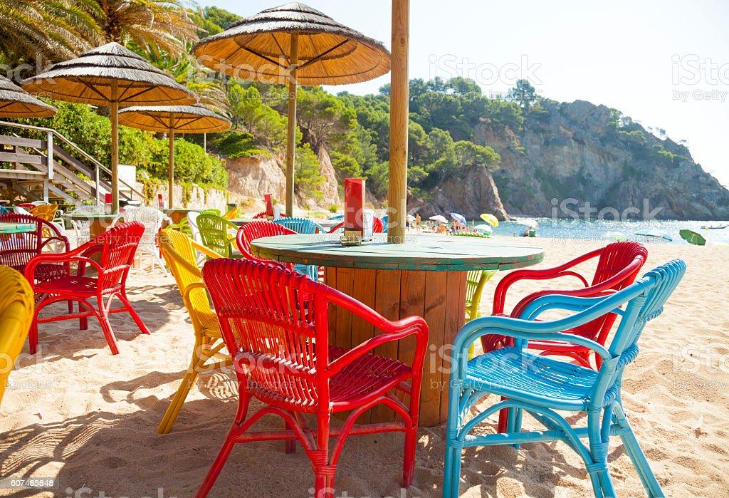 Beach bar, mediterranean at Tossa stock photo