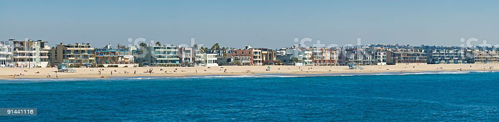 Beach, bathers and balconies royalty-free stock photo