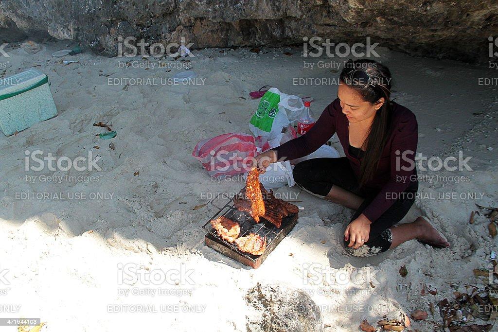 Barbecue in Spiaggia Filippine foto stock royalty-free