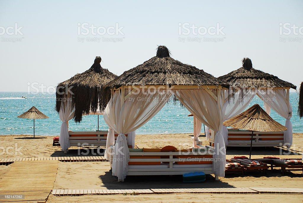 Beach Bed and pergola stock photo