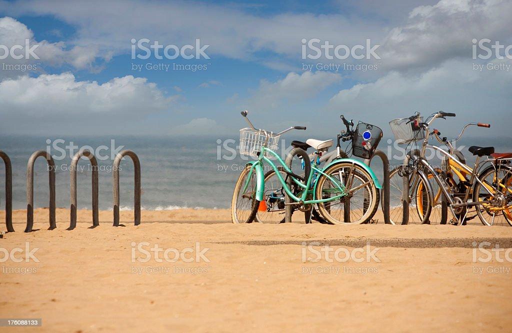 beach bikes stock photo
