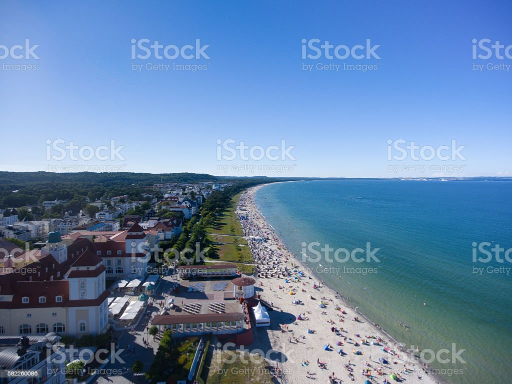 Beach Binz Island Ruegen Germany Mecklenburg aerial view stock photo