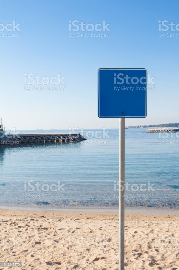 Beach blank sign stock photo