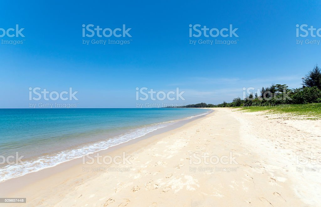 Beach, blue sea and white sands stock photo