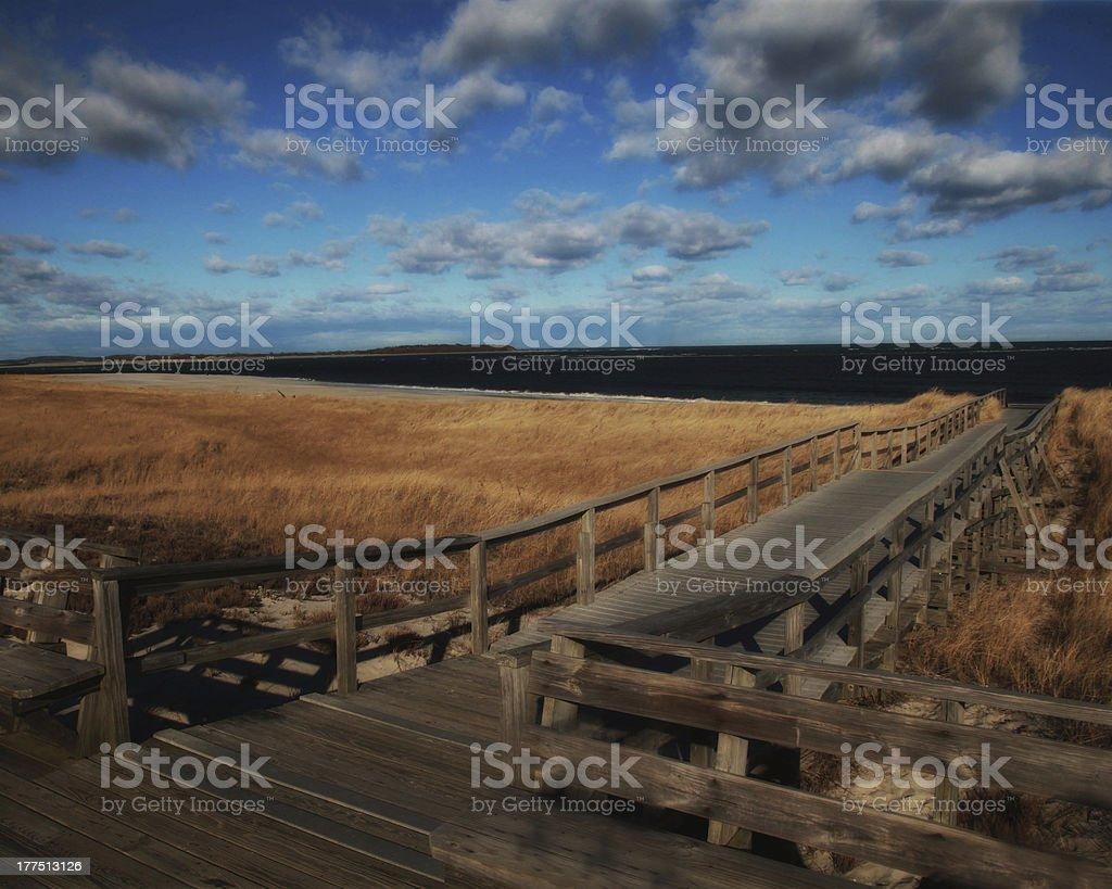 Beach boardwalk in Winter royalty-free stock photo