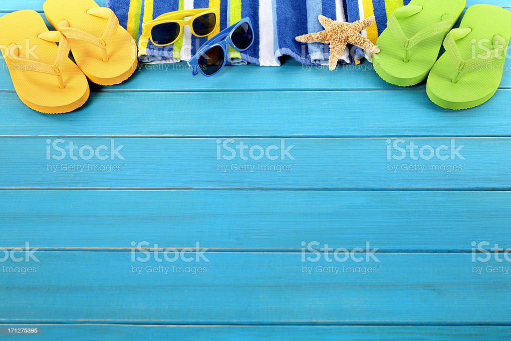 Beach border with blue decking stock photo
