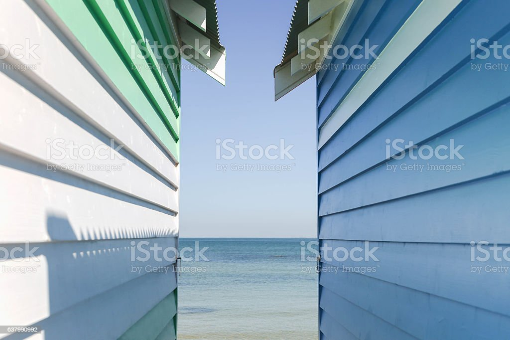 Beach boxes stock photo