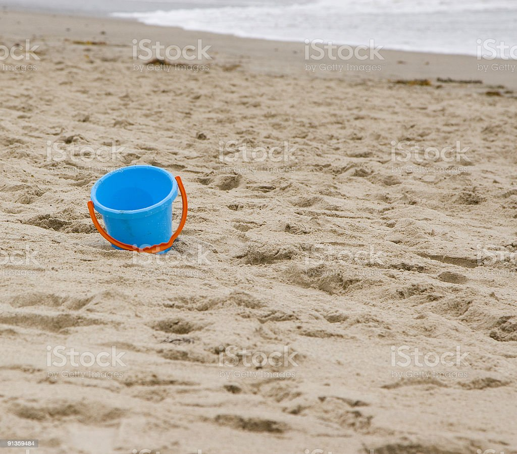 beach bucket stock photo