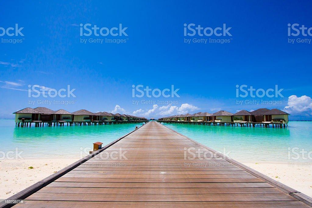 Beach bungalow stock photo