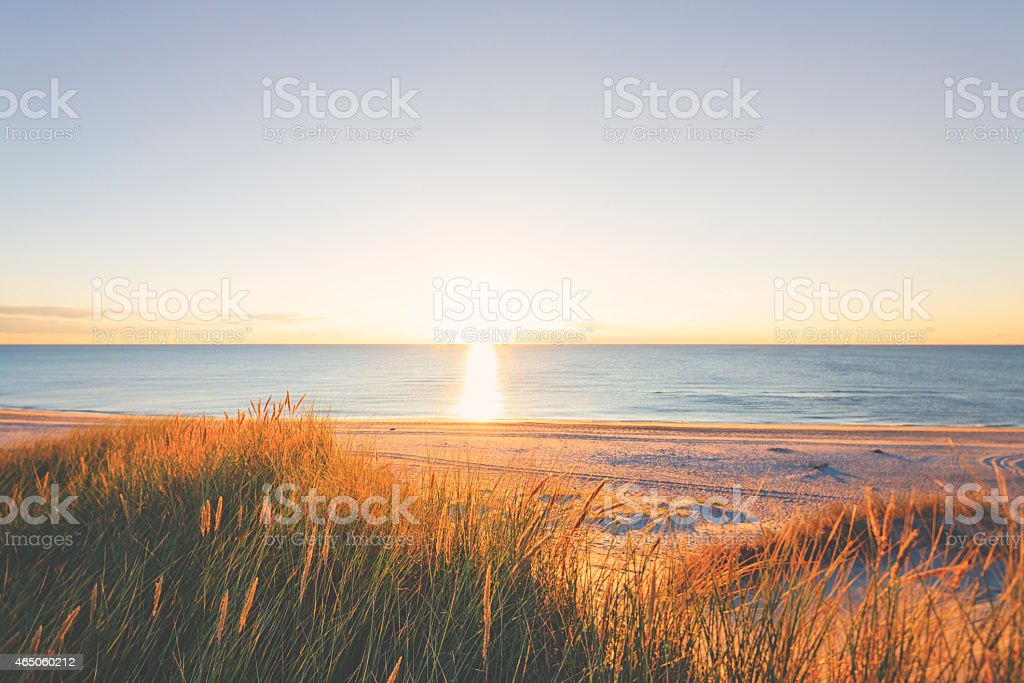 Beach by the Northsea in sunset stock photo