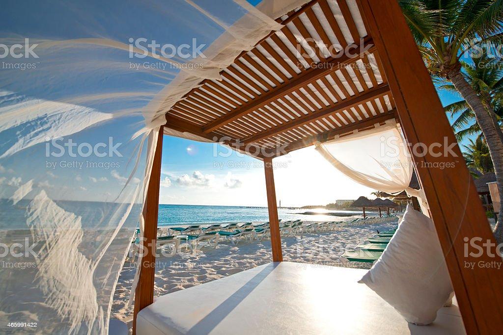 Beach Cabana Mexico stock photo