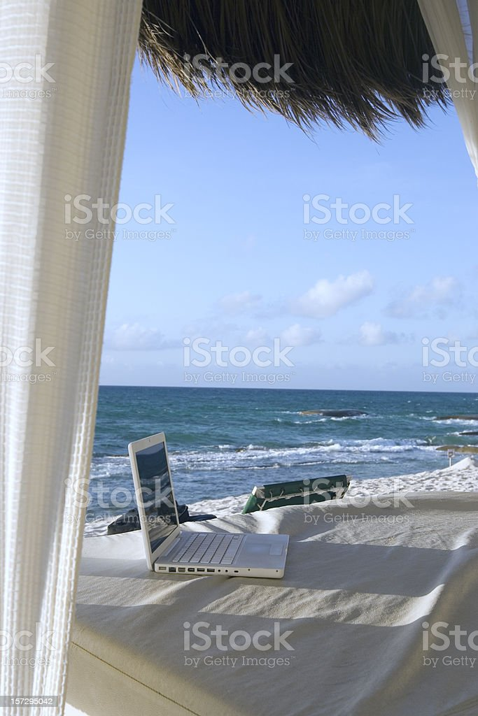 Beach Cabana with Laptop, Copy Space royalty-free stock photo