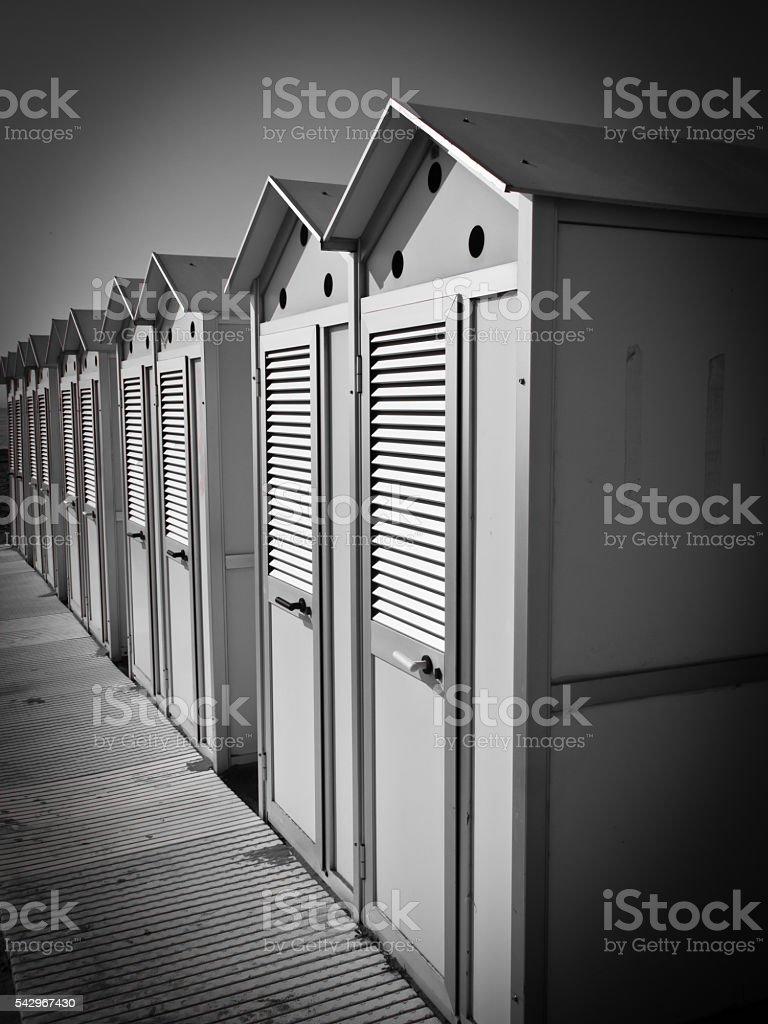 beach cabin, locker room stock photo