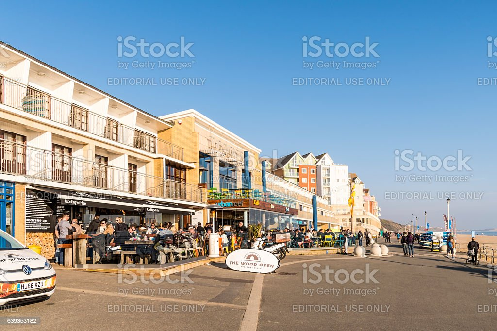 Beach cafe and restaurant in Boscombe Bournemouth stock photo