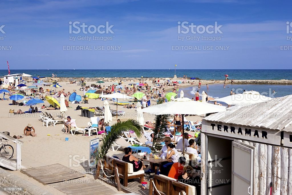Beach cafe, Sitges, Spain stock photo