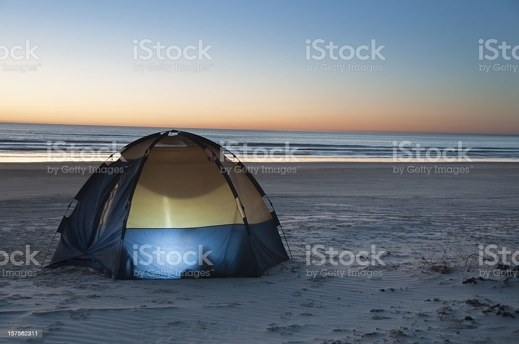 Beach Camp Sunrise royalty-free stock photo