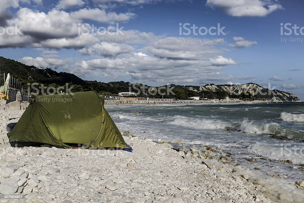 Beach Camping stock photo