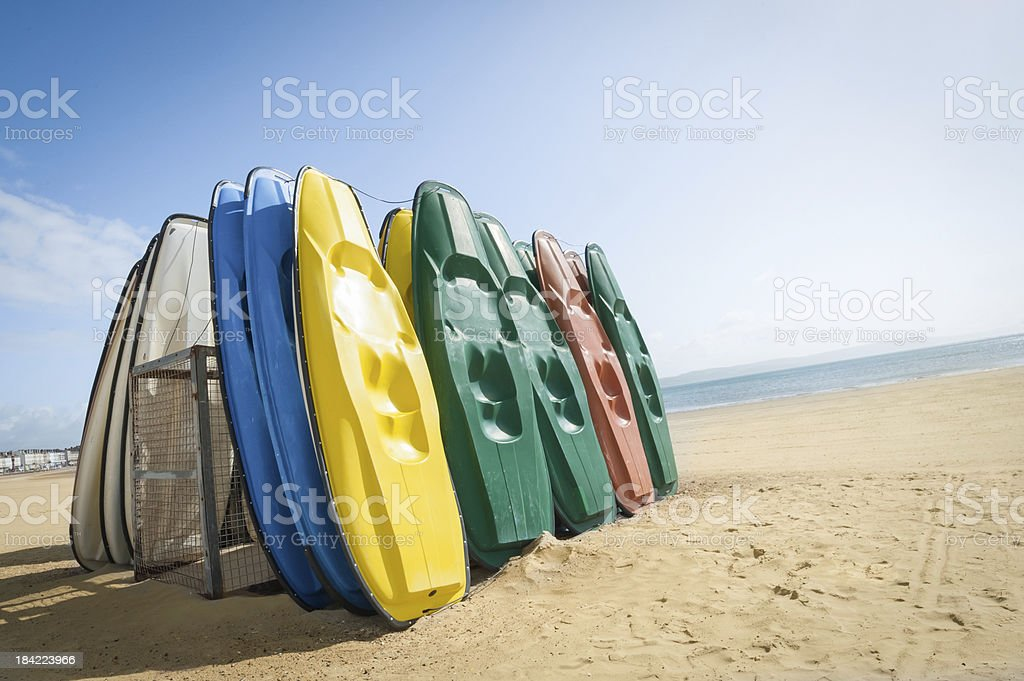 beach canoes stock photo