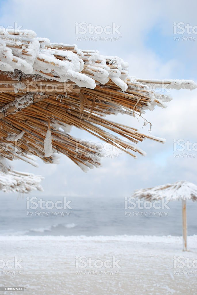 beach canopies under snow royalty-free stock photo
