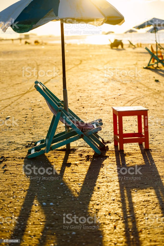 Beach chair and table, Damietta, Egypt. stock photo