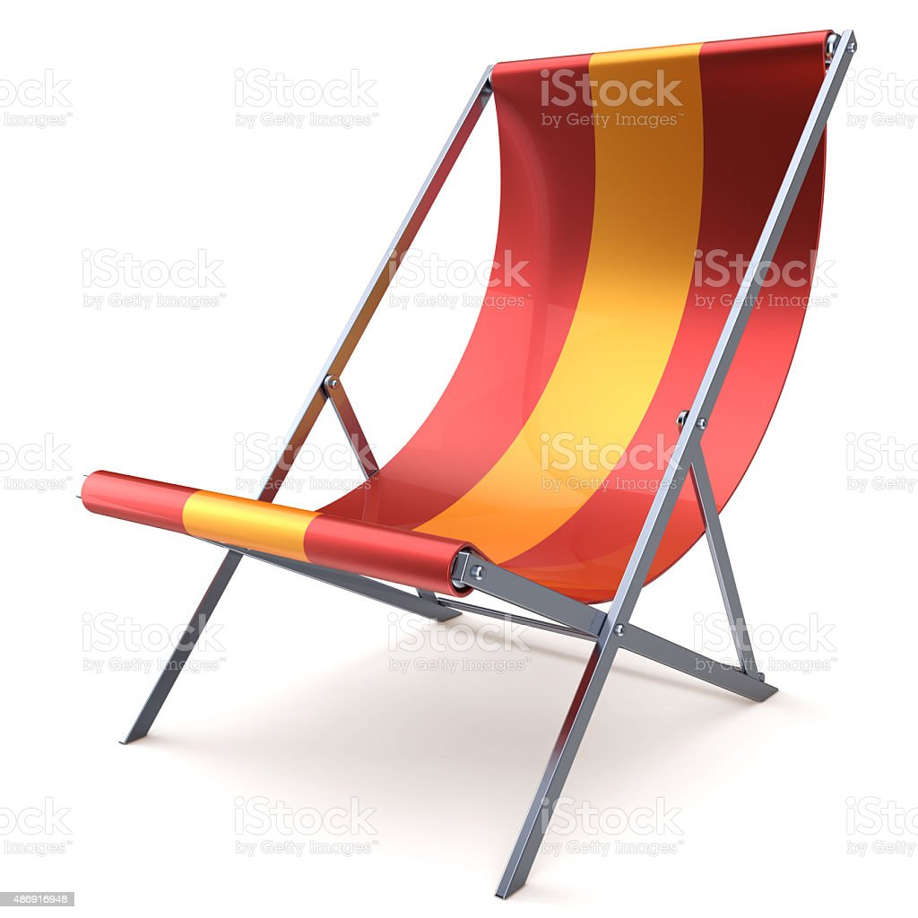 Beach chair chaise longue red yellow nobody relaxation stock photo