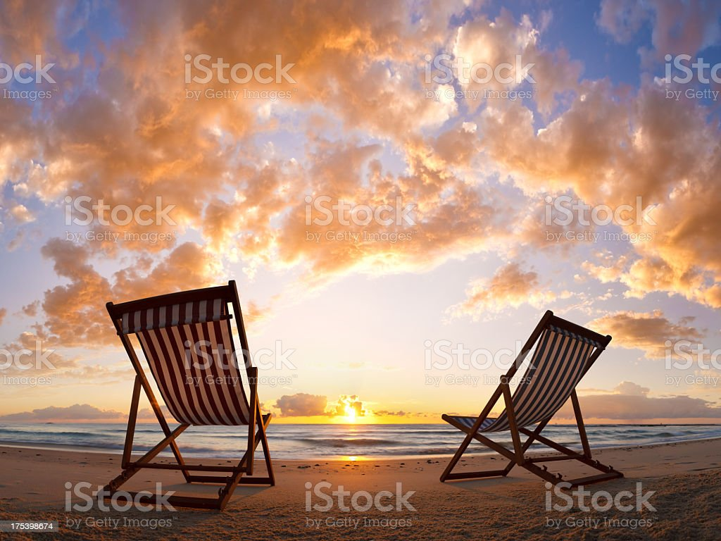 Beach Chair Sunrise royalty-free stock photo