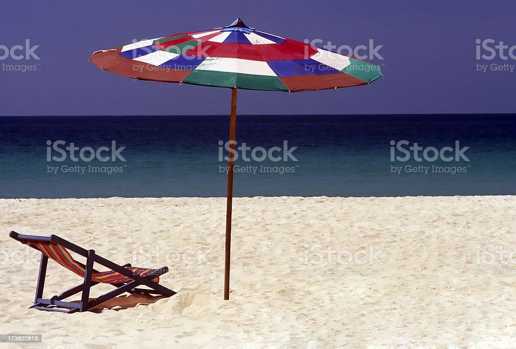 beach chair umbrella sunshade stock photo
