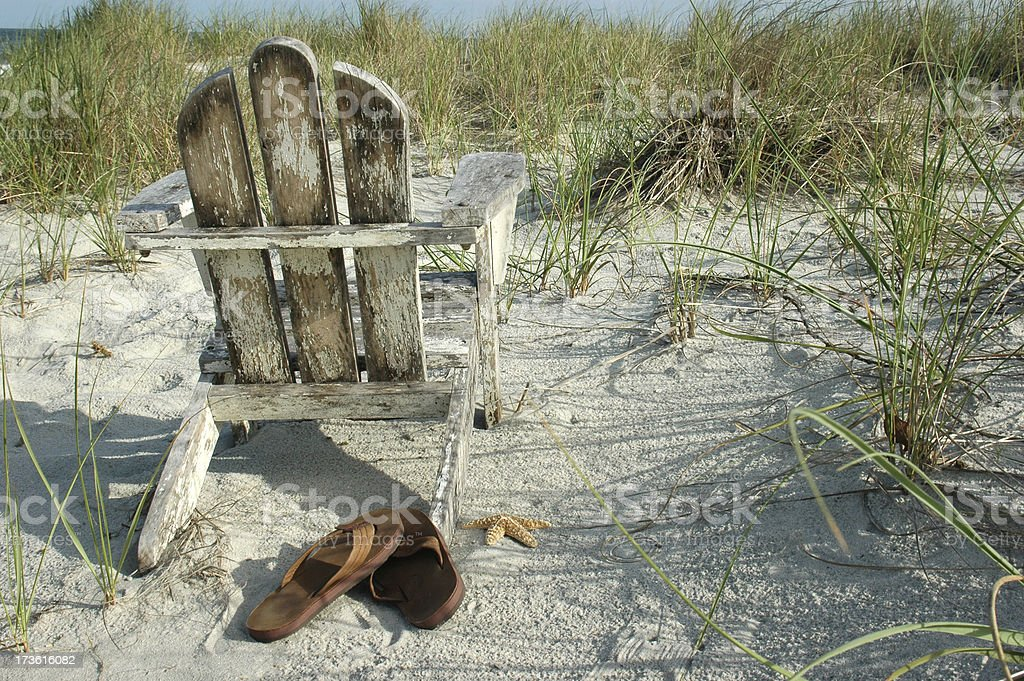 Beach Chair with sandles and space stock photo