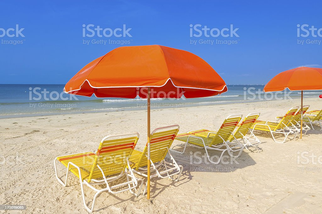Beach chairs and umbrellas royalty-free stock photo
