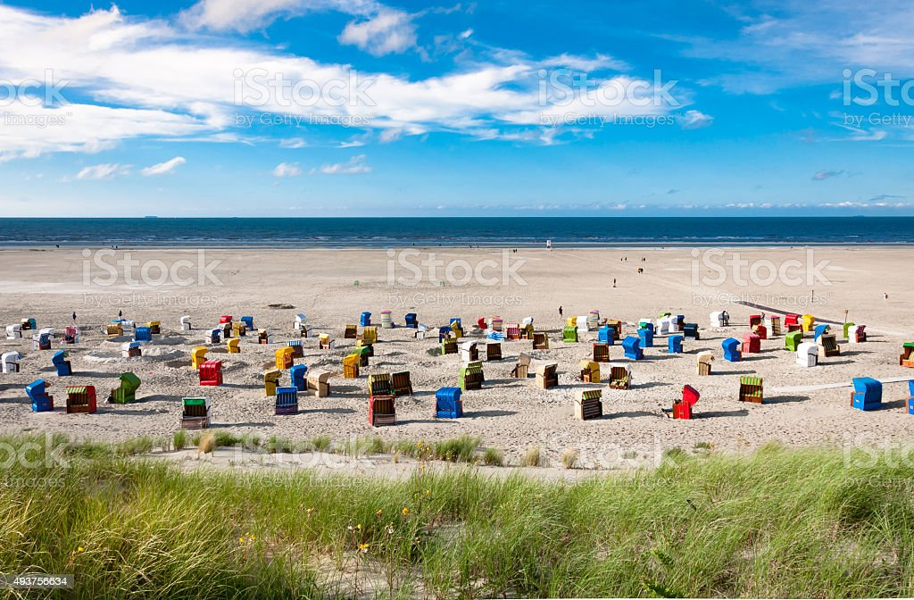 Beach chairs at the island of Juist in Germany stock photo