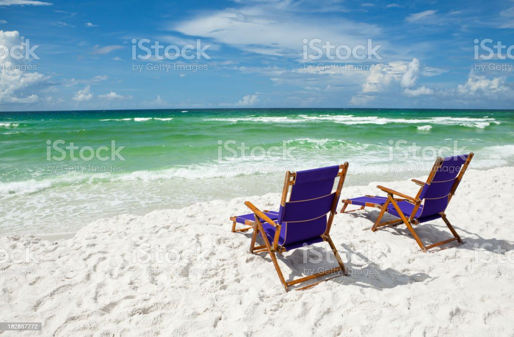 Beach Chairs at the ocean royalty-free stock photo