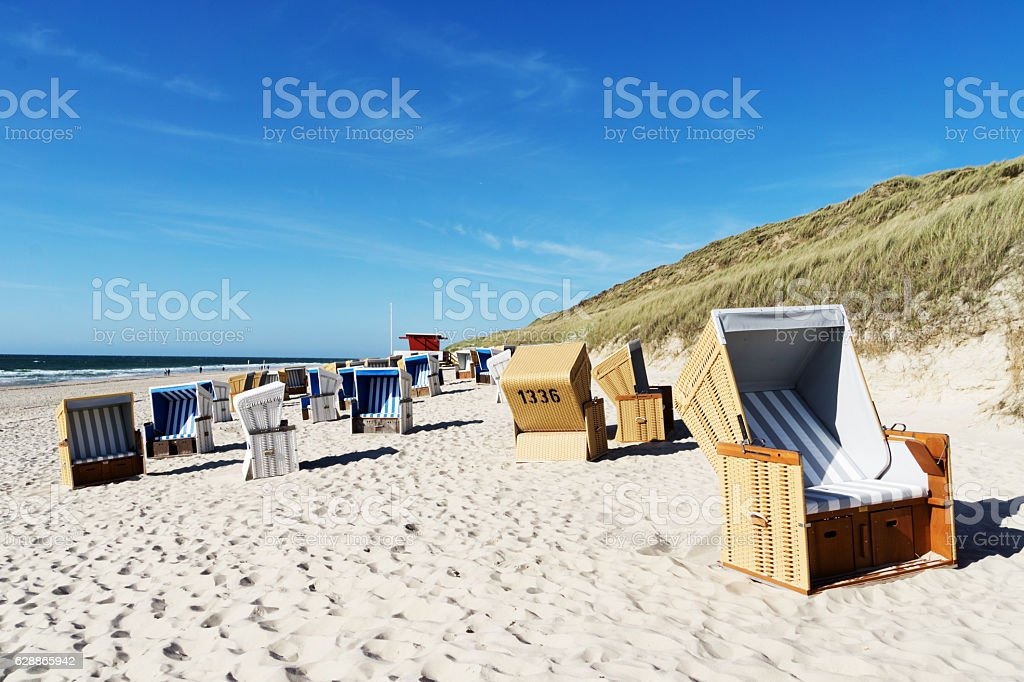 Beach chairs at Wenningstedt Beach / Germany stock photo