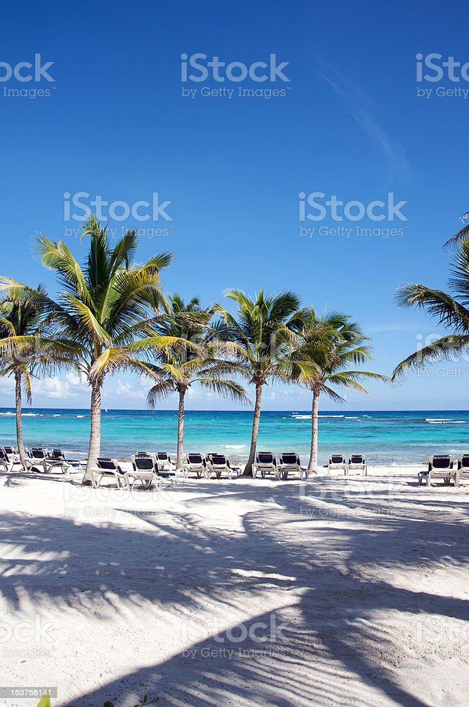 Beach chairs by the Caribbean Sea royalty-free stock photo