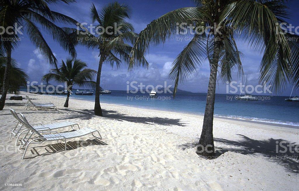 Beach chairs Caribbean royalty-free stock photo