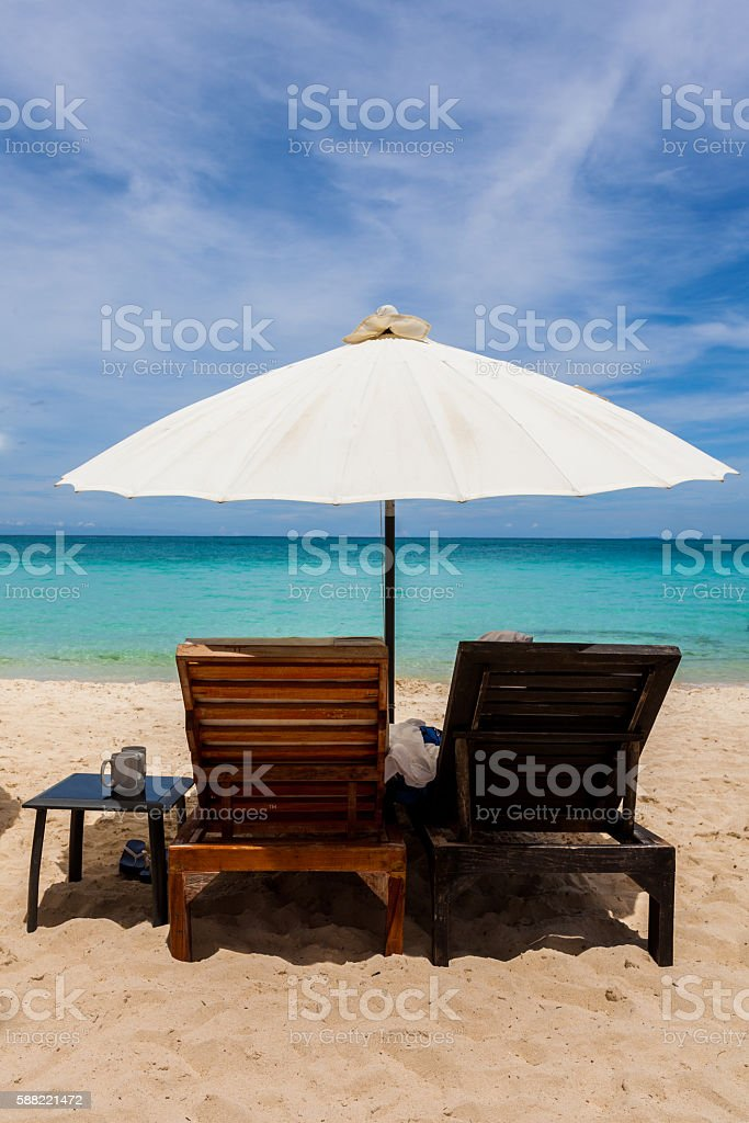 Beach chairs in Boracay, Philippines stock photo