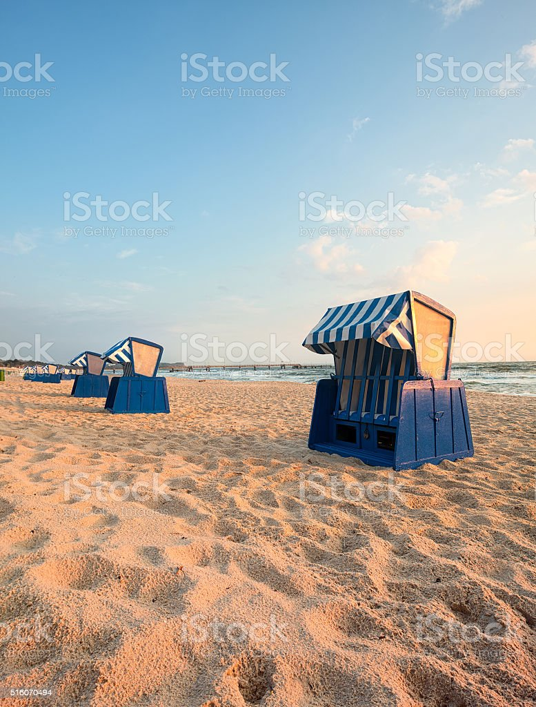 Beach chairs in in Binz, Ruegen Island, Germany stock photo