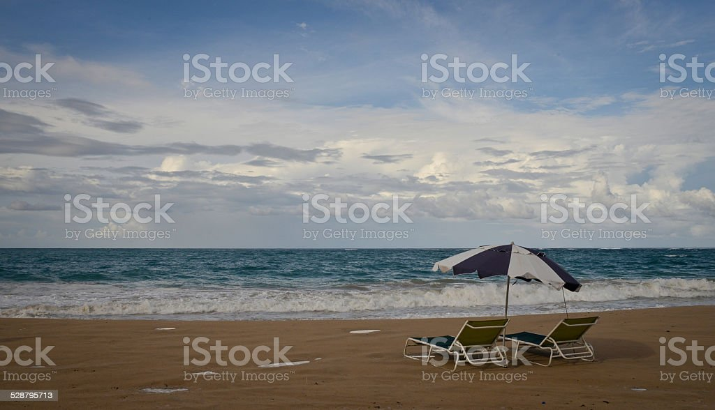 Beach Chairs in Puerto Rico stock photo