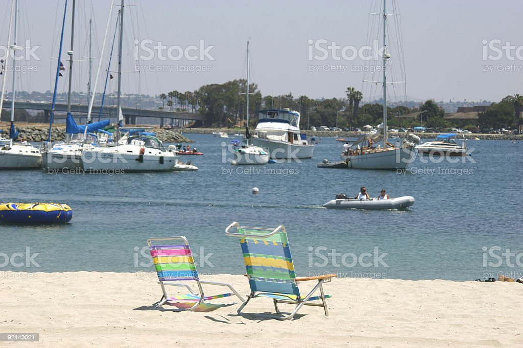2 beach chairs in sand royalty-free stock photo