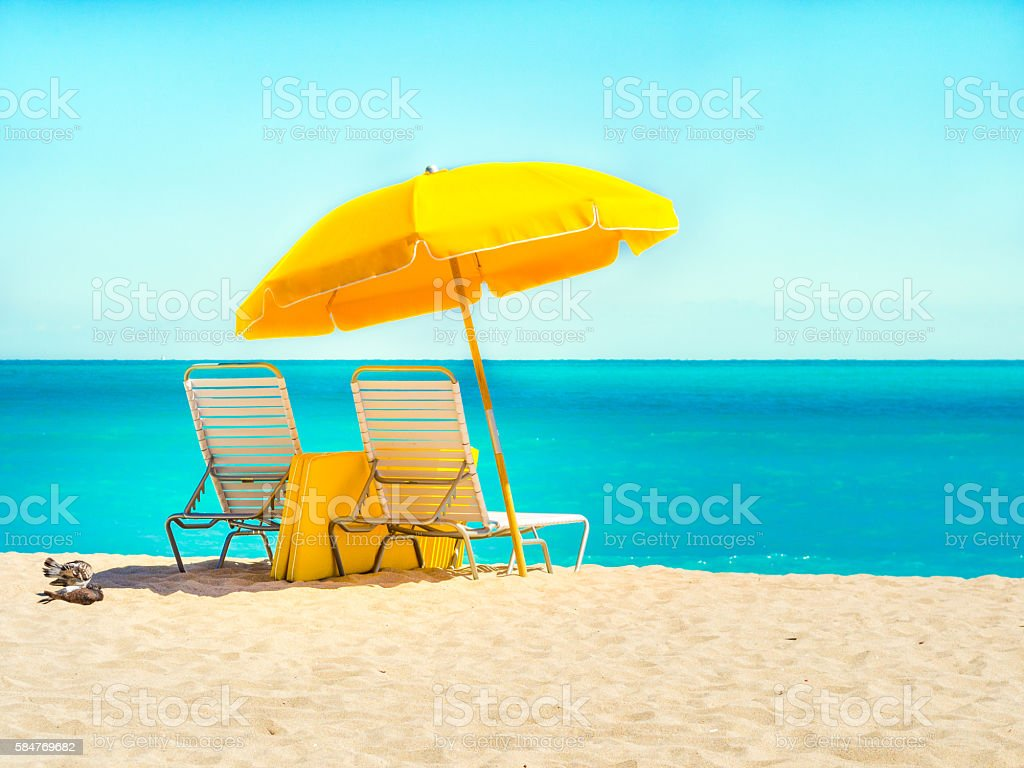 Beach chairs in South Beach stock photo