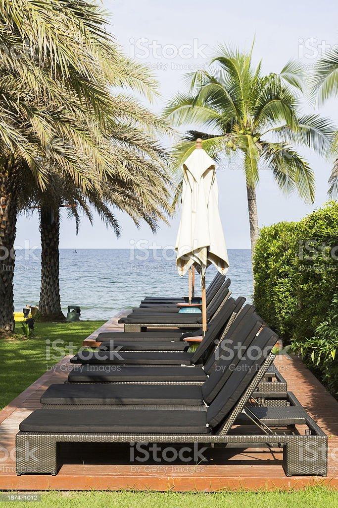 Beach chairs near the sea royalty-free stock photo