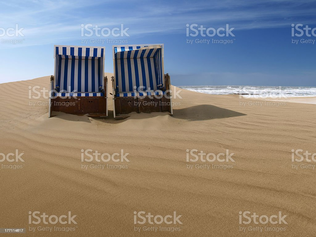 beach chairs on a sand dune royalty-free stock photo