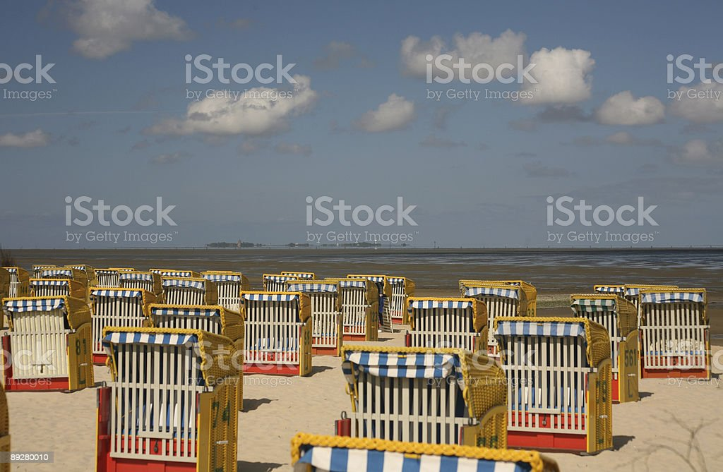 Beach chairs on the German North Sea coast stock photo