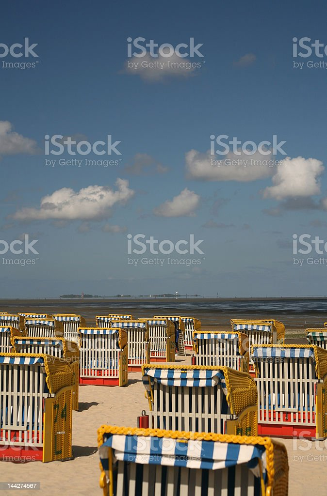 Beach chairs on the North Sea stock photo