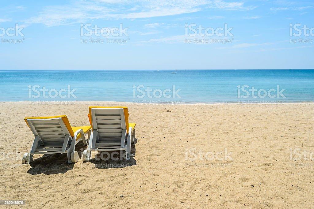 Beach chairs on White Sand Beach in Phuket,Thailand stock photo